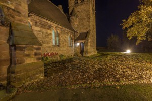 External shots of St Bartholomew's illustrating successful lighting scheme.